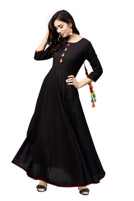 black rayon printed long-kurtis For Women