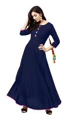 blue rayon printed long-kurtis For Women