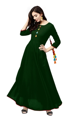 green rayon printed long-kurtis For Women