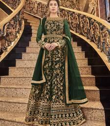 Dark Green Super Net Heavy Embroidered Anarkali Suit
