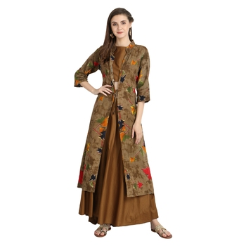 chiku rayon printed Kurta & Skirt Set For Women