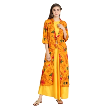 yellow rayon printed Kurta & Skirt Set For Women