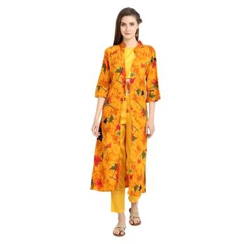 yellow rayon printed Kurta & Pant Set For Women