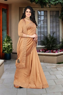 brown  embroidered polyester saree with blouse