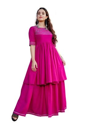 pink rayon plain designer Top & Lehnga Set For Women