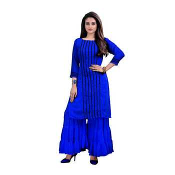 blue georgette embroidered Kurta & Sharara Set For Women