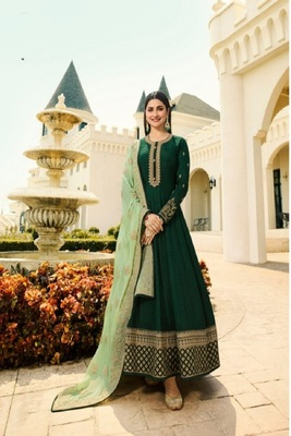 Green Silk Embroidery work Party wear Salwar Suit