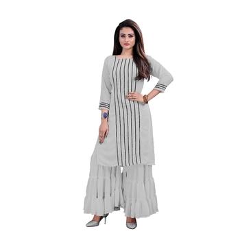 grey georgette embroidered Kurta & Sharara Set For Women
