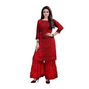 maroon georgette embroidered Kurta & Sharara Set For Women