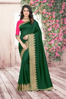 green embroidered polyester saree with blouse