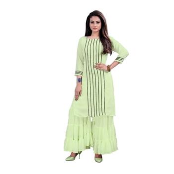 parrot-green georgette embroidered Kurta & Sharara Set For Women
