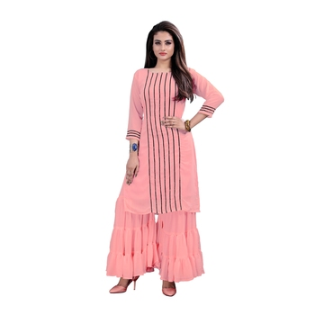 pink georgette embroidered Kurta & Sharara Set For Women