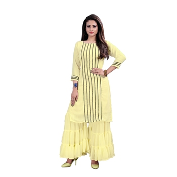 yellow georgette embroidered Kurta & Sharara Set For Women
