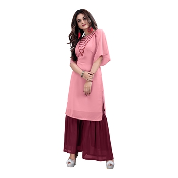 pink georgette embroidered Kurta & Sharara Set For Women