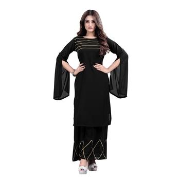 black georgette embroidered Kurta & Sharara Set For Women