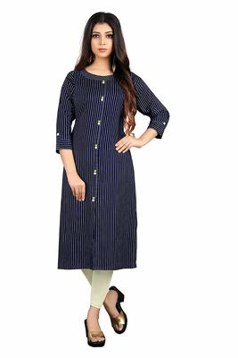 navy-blue rayon printed long-kurtis For Women