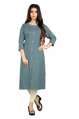 grey rayon printed long-kurtis For Women