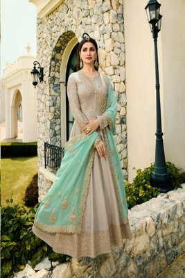 Grey Silk Embroidery work Party wear Salwar Suit