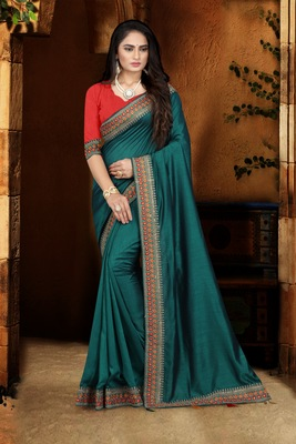 blue embroidered polyester saree with blouse