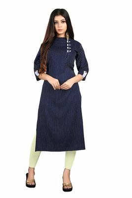 navy-blue rayon printed long-kurtis For Women