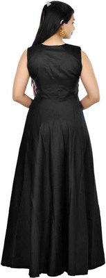 Black Diamond Work Tafeta Satin with Inner Full Stiched Anarkali Gown