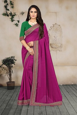 wine embroidered polyester saree with blouse