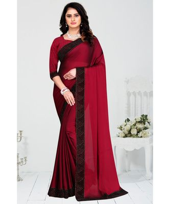 maroon embroidered polyester saree with blouse