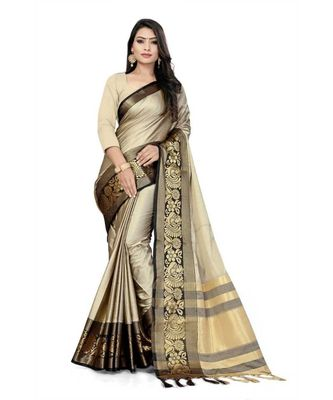 Chiku Woven border Soft cotton silk gold peacock design saree with blouse