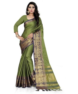 Mehndi Woven border Soft cotton silk gold peacock design saree with blouse