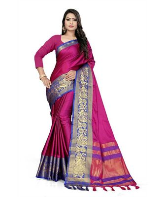 Pink Woven border Soft cotton silk gold peacock design saree with blouse
