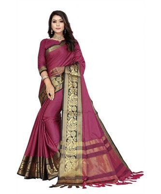 Rani Woven border Soft cotton silk gold peacock design saree with blouse