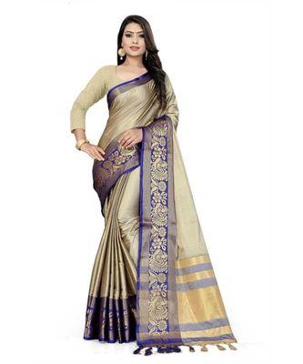 Chiku Woven border Soft cotton silk gold peacock design saree with blouse