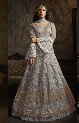 Light-blue embroidered net salwar