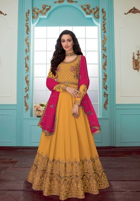 Mustard embroidered faux georgette salwar