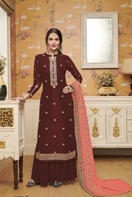 brown embroidered silk blend salwar