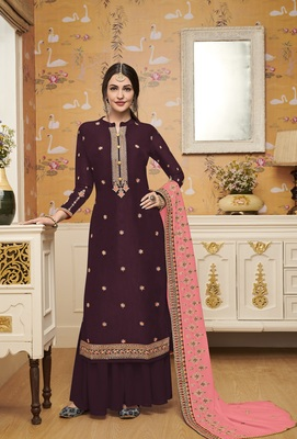 Purple embroidered silk blend salwar