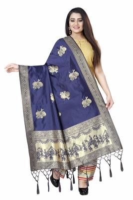 NAVY BLUE WOVEN BANARASI SILK DUPATTA FOR WOMEN