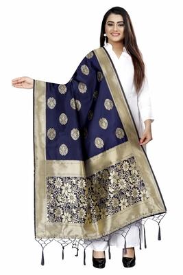 GLEAMING NAVY BLUE WOVEN BANARASI SILK DUPATTA FOR WOMEN