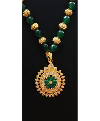 Georgeous  gold plated  Green colour necklace set