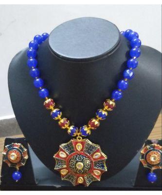 Blue stones kundan necklace set