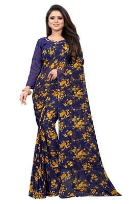 Dark blue printed georgette saree with blouse