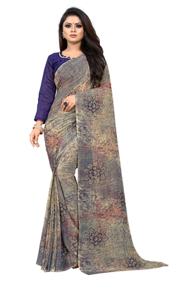 Gold printed georgette saree with blouse