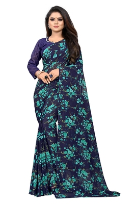Light blue printed georgette saree with blouse