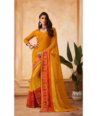 Yellow Georgette Printed and Fancy Lace Border Designer Saree