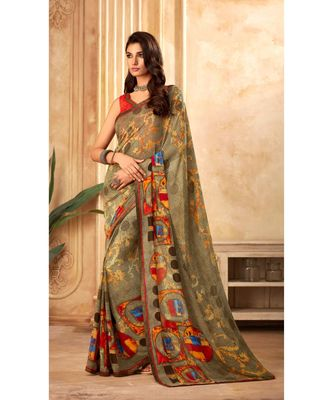 Olive Georgette Printed and Fancy Lace Border Designer Saree