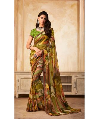 Green Georgette Printed and Fancy Lace Border Designer Saree