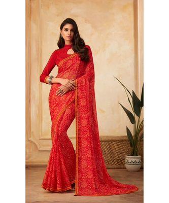 Red Georgette Printed and Fancy Lace Border Designer Saree