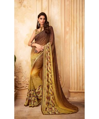 Yellow and Brown Georgette Printed and Fancy Lace Border Designer Saree