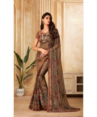Brown Georgette Printed and Fancy Lace Border Designer Saree