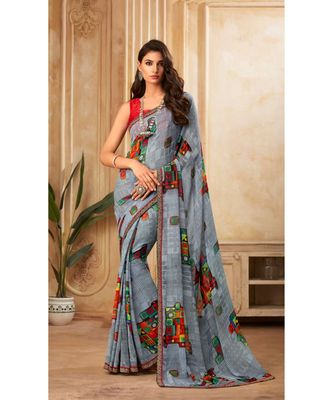 Grey Georgette Printed and Fancy Lace Border Designer Saree